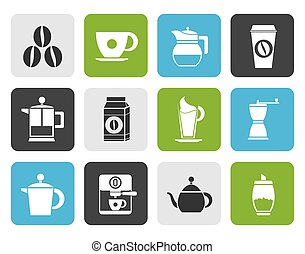 coffee industry signs and icons - Flat coffee industry signs...