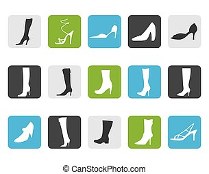 Flat shoe and boot icons