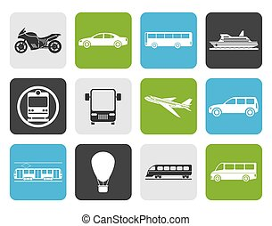 Travel and transportation icons - Flat Travel and...