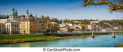 Salzburg skyline with Fortress in spring, Salzburger Land,...
