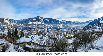 Winter mountain landscape with village of Zell am See,...