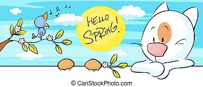 spring banner with singing bird and