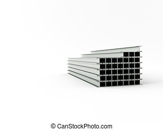 steel girder - 3d made steel girder on white background