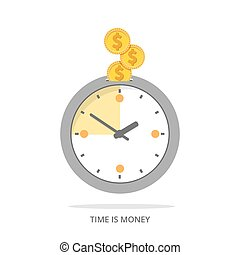 Flat time is money - Time is money concept background Clock...