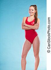 Portrait of lifeguard lifesaver woman - Portrait of happy...
