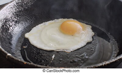Egg fried in a pan