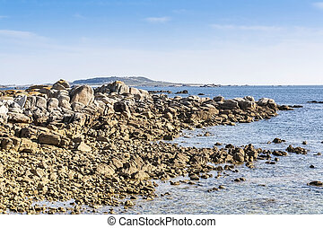 Rocky shore on the coast of Aguinho, Ribeira