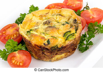egg muffin cup dinner quiche and omelet style with mushroom...