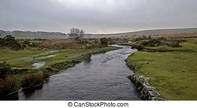 Dartmoor - Showing a high stream river on dartmoor, england...
