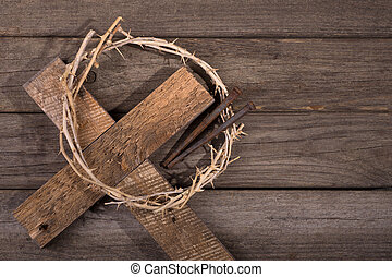 Crown of Thorns on a Cross - Crown of thorns with a cross...