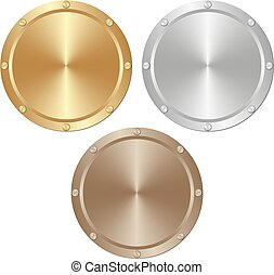 plates - golden, silver and brown plates