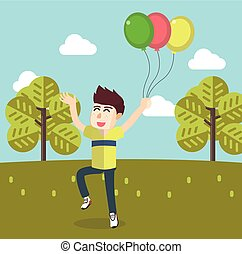 Boy playing ballons