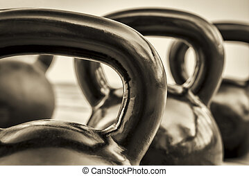 kettlebells - black and white abstract - heavy iron...