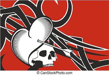 heart and skull tattoo