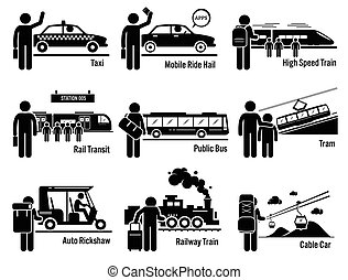 Land Public Transportation Vehicles - Vector set of land...