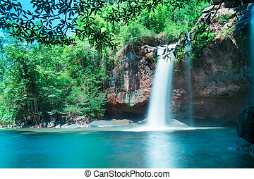 Amazing beautiful waterfalls in deep forest at Haew Suwat Waterfall in Khao Yai National Park, Thailand