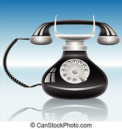 Old phone - Illustration of an old black telephone on a blue...