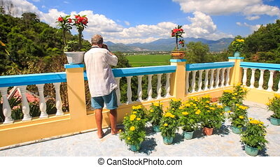 Old Man Photos Pagoda Decoration and Landscape in Vietnam -...
