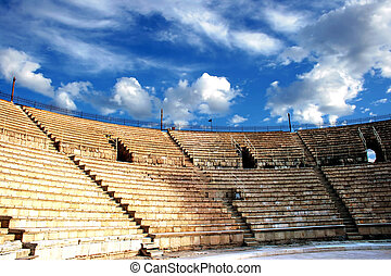 Ancient amphitheater of the period Roman invasion in...
