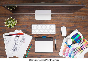 Top view of a fashion designer workspace - Fashion designer...