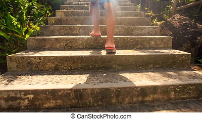 Backside Old Man Climbs Steps to Pagoda Barrier in Vietnam -...