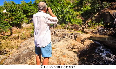 Old Man Photos Rocky Cave Mountain River Waterfall by Pagoda...