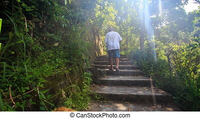 Backside Old Man Climbs Stone Steps to Pagoda in Vietnam -...