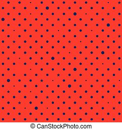 Red Navy Blue Star Polka Dots Background Vector Illustration