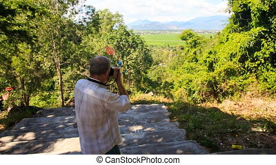 Man Photos Valley from Top Tourist Observation Ground -...