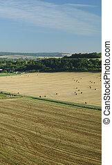 colheita, campos, verão, aéreo, França