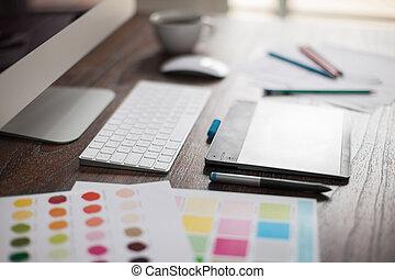 Closeup of a graphic designer's desk - Shallow depth of...