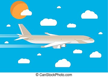 picture of a civilian plane with clouds and sun - picture of...