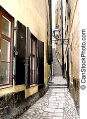 Old narrow street in Stockholm Old town
