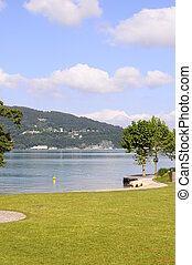 Annecy lake in france - Grass beach and Annecy lake...