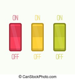 Wall Switch on, off position Button ui interface traffic...