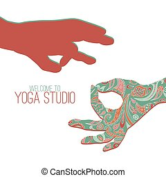 Yoga mudra. - Logo for yoga studio. Two hands making yoga...