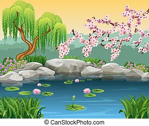 Illustration of beautiful nature - Vector illustration of...