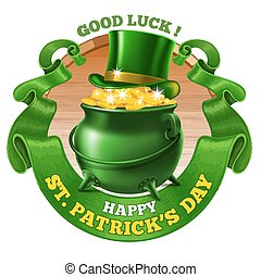 Saint Patricks Day Emblem Design with Leprechaun Treasure...