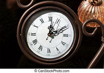 Clock - Old analogue clockface close up