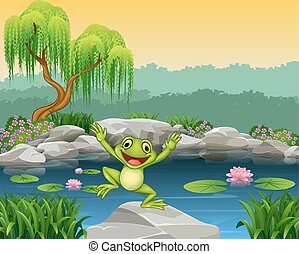 Cartoon happy frog jumping - Vector illustration of Cartoon...
