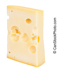 Isolated cheese chunk