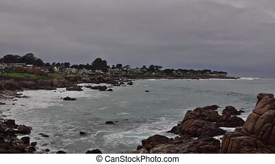 Monterey - Panoramic view of beach in Monterey town