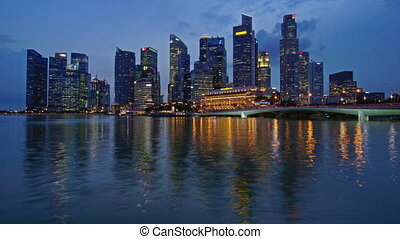 Night Singapore - Panoramic time-lapse of night Singapore...