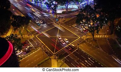 Crossroad in big city - Time-lapse of night crossroad in...