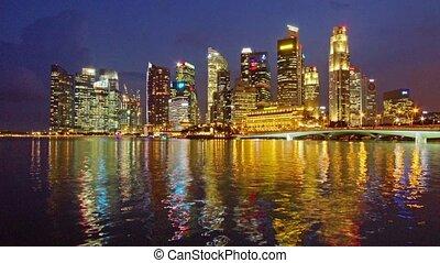 Singapore - Panoramic time-lapse of night Singapore skyline