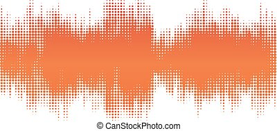 Orange halftone abstract design background in the form of wave.
