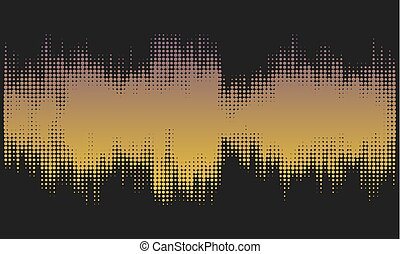 Golden halftone abstract design background in the form of wave.