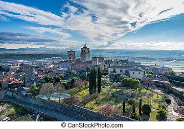 Panoramic view of the medieval Trujillo church - Trujillo...