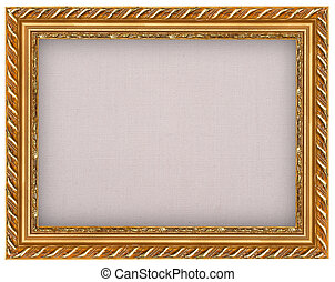 The antique gold frame with burlap
