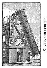 Mirror telescope, Vintage scientific engraving